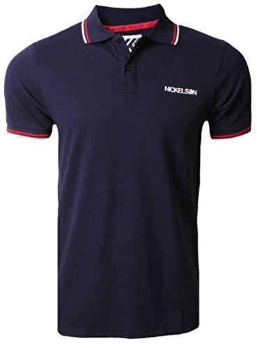 New Elson beiläufige Baumwolle Polo Piqué-T-Shirt Retro Die besten neuen Schwarz Weiß Blau Anthrazit Peacoat