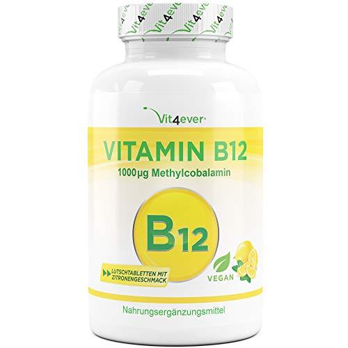 Vit4ever® Vitamin B12 - 1000 µg (mcg) - 365 Tabletten - Methylcobalamin - 100% Vegan - 12 Monatsvorrat - Laborgeprüft - Lutschtabletten mit Zitronengeschmack - Hochdosiert -
