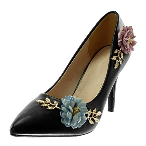 Angkorly - Scarpe Moda Decollete con Tacco Stiletto Decollete Slip-on Donna Fiori d'oro Fantasia Tacco Stiletto Alto 9 CM - Nero A338-70 T 36