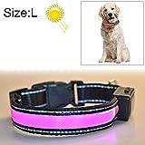 KANEED Hundehalsbänder, Geschirre, Mittlerer und großer Hund Haustier Solar + USB-Lade-LED-Lichtkragen, Halsumfang Größe: L, 50-60 cm (Orange) (Farbe : Rosa)