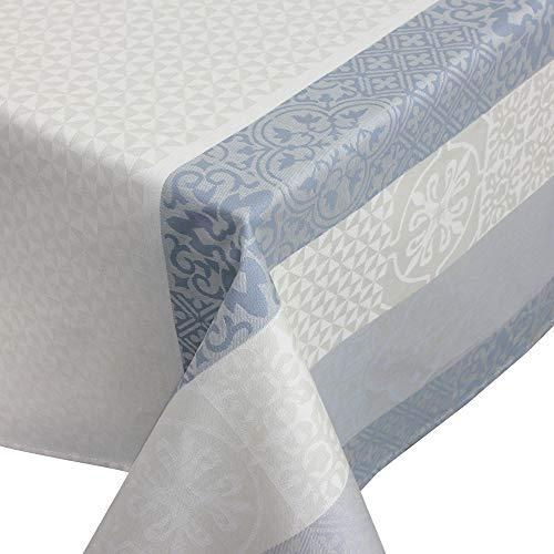 Nappe rectangle 150x250 cm Jacquard 100% coton + enduction acrylique MOSAIC PERLE Gris