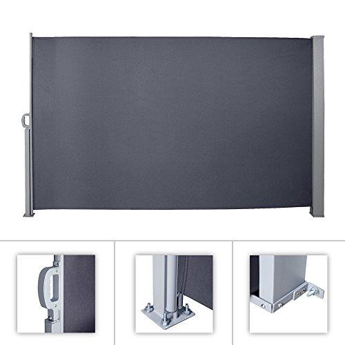 HG® 180x300cm Markise Seitenmarkise Sonnenschutz inkl. Montagematerial Terrassenwindschutz für Terrasse Camping seitlicher Windschutz Aluminium grau