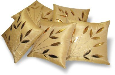 Cushion Covers ( Premium Golden Leaves Cushion Cover 16x16 Set of 5)