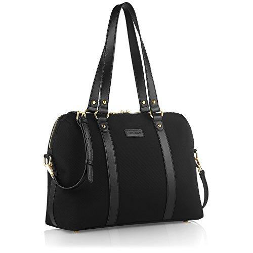 Bag Laptop-tasche Satchel (CHICECO Satchel Handtasche Damen Umhängetasche Aktentasche für 13 Zoll Laptop Dateien Bücher – Schwarz)