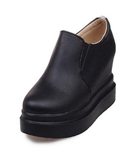 AgooLar Femme Matière Souple Rond Tire à Talon Haut Couleur Unie Chaussures Légeres Noir
