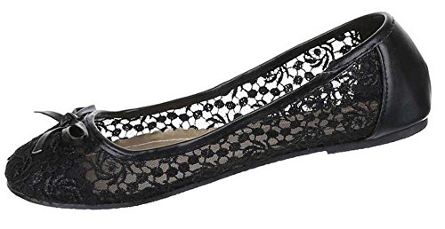 Kinder-Schuhe Ballerinas   elegante Slipper mit Blockabsatz und Schleife in verschiedenen Farben und Größen   Schuhcity24   mit Stick-Muster Schwarz