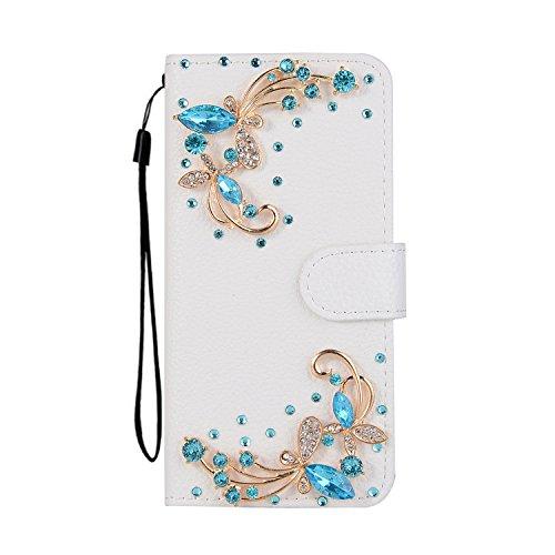Custodia per iPhone 8 Plus / 7 Plus DIY Brillantini Portafoglio - Girlyard 3D Bling Glitter Crystal Strass Diamante Cover in Pelle Colorata Fiore Farfalla Disegno Libro Antiurto Supporto Wallet Chiusu Bianca Blu Libellula