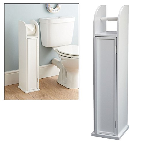 Free Standing Wooden White Toilet Paper Roll Holder Bathroom Storage Cabinet by Top Home Solutions