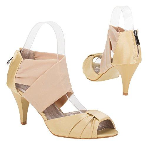 Chaussures pour femme, mules 00B23 lP - Champagne