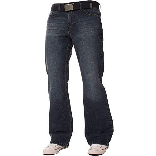 Distressed Denim Bootcut Jeans (Enzo Fbm Mens Bootcut Jeans Dunkel Verwendet Look Jeans W36- L32)