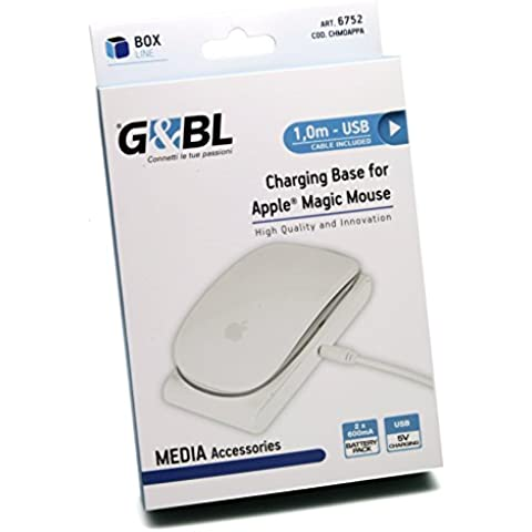 G & BL Charging Base – Base de carga – Cargador para Apple Magic Mouse Incluye 2 x 600 mA Batería Packs – USB cable