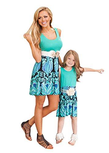 youjia-women-and-kids-elegant-floral-skirt-sleeveless-midi-breathable-mom-kids-matching-dress-green-