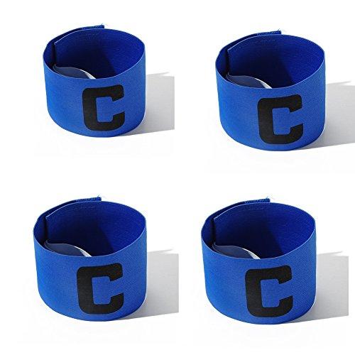 Katech 4 Stück Verstellbare Captains Armbinden Hohe Qualität Fußball Armband Elastic Fußball Arm Band geeignet für mehrere Sport