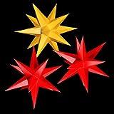 3 Leuchtsterne aus Papier, 2x rot, 1x gelb, 3d Weihnachtssterne fürs Fenster - Sternschmiede (Art.Nr.210) inkl. Netzteil mit 3-fach-Verteiler, Fenster-Clip und Distanz-Stab, Durchmesser 19 cm, Papier, komplett handgefertigt, kleine Leuchtsterne für den Innenbereich