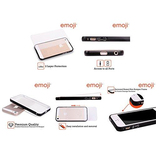 Ufficiale Emoji Vetro Macchiato Modelli 2 Nero Cover Contorno con Bumper in Alluminio per Apple iPhone 6 Plus / 6s Plus Vetro Macchiato