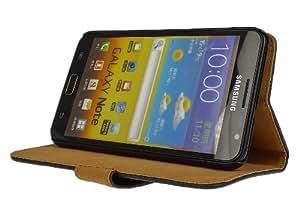 AVANTO Tasche Handyhülle Cover Case für das Samsung Galaxy Note 1 / N7000 / I9220 in Schwarz Wallet Structure als Etui seitlich aufklappbar im Book-Style mit Kartenfach nutzbar als Geldbörse