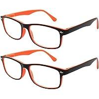 c97ae748946e5 TBOC Lunettes de Lecture Presbyte - (Pack 2 Unités) Dioptrie +1.50 Monture  Bicolore Orange et Noire pour Femme.