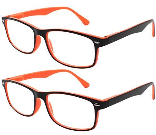 TBOC Lunettes de Lecture Presbyte - (Pack 2 Unités) Dioptrie +2.00 Monture  Bicolore Orange et Noire pour Femme Homme Unisexe Loupes de Vue de Repos  Anti ... a8caed0fe151