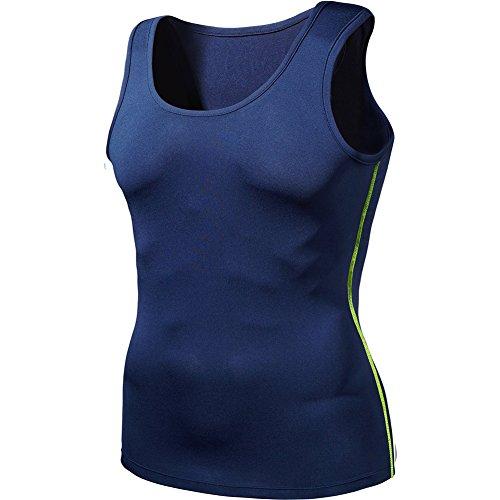Hippolo Herren Schlanke Sport Yoga Weste Fitness Laufweste POLO Shirt Schnell Trocknend Kleidung Atmungsaktiv Vest (L, Blau)