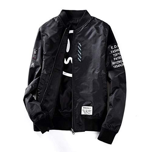 Jacke Jungen Motorrad Jacke Mit Biker Jacke Parka Kleidung Outwear Stehkragen Mit Zipper Oberbe Mantel Coat (Color : Schwarz, Size : M)