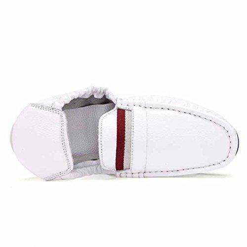 Uomo Scarpe Sportive Pelle Fondo Morbido Set Di Piedi Uomini Scarpe Da Barca Business Scarpe Casual White