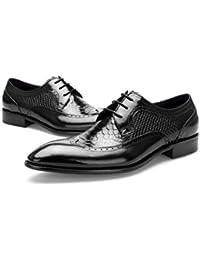 FLYSXP Vestido De Negocios De Piel De Cocodrilo Tallada para Hombres, Zapatos De Hombre De Cuero Puntiagudo. Botas de…