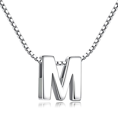 Buchstabenkette 925 Sterling Silber Name Halsketten Initialen Buchstabe Kette Anhänger Damen (Kette mit buchstabe M) - Schwester Halsketten Anhänger