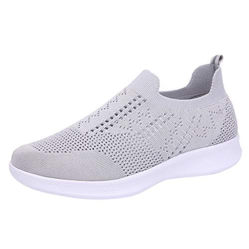 feiXIANG Damenschuhe Große Größe Mesh Turnschuhe leichte Freizeitschuhe Sommer Fashion Schuhe(Grau,41) Chiffon Womens Schuhe