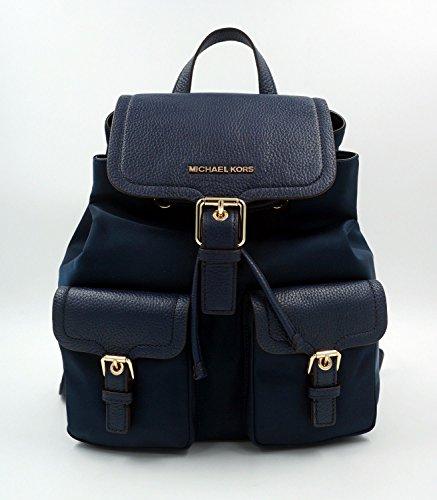MICHAEL KORS BOLSOS MOCHILA Backpack SUSIE NAVY CUERO Y NYLON 30cmx35cmx10cm NEW
