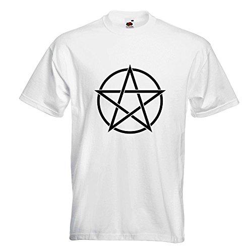 KIWISTAR - Pentagramm T-Shirt in 15 verschiedenen Farben - Herren Funshirt bedruckt Design Sprüche Spruch Motive Oberteil Baumwolle Print Größe S M L XL XXL Weiß
