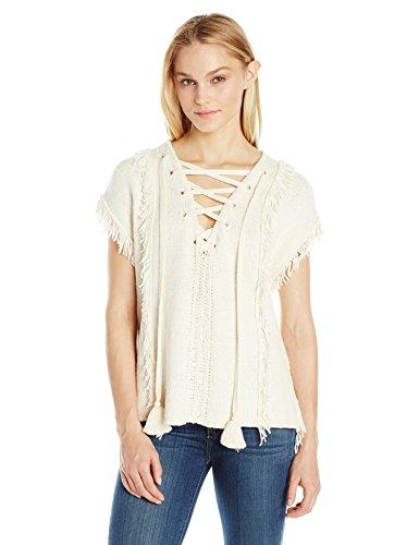 Pam & Gela Damen Baja Pullover mit Fransen - Elfenbein - Klein Baja Womens Sweatshirt