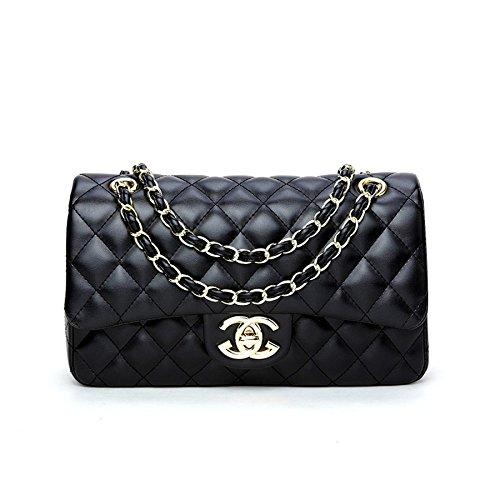 WJNKK 2018 Baby Frauen Handtaschen Umhängetasche Kette Schultertaschen Mode Mini Taschen Lingge Handtaschen28x16x8cm,Black1-OneSize