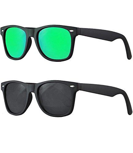 caripe Wayfarer Retro Nerd Vintage Sonnenbrille verspiegelt - SP (2er Set - schwarz gummiert - 1x bluegreen verspiegelt - 1x black getönt)