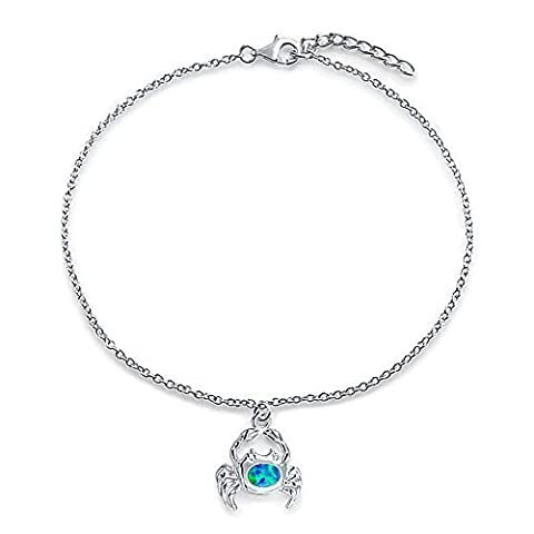 Sterling Silver Anklet Synthetic Blue Opal Nautical Crab 9in