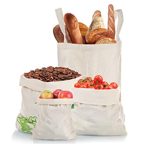 Hoga rtech de frutas y verduras bolsas – Bolsa para la compra con bolsa de pan algodón reutilizable – libre de plástico bolsa de red y verduras Red, estable/portátil bolsa de plástico