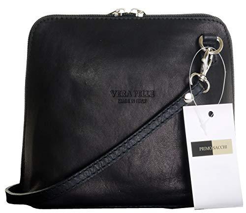 Schwarze Napa Leder (Primo Sacchi ® italienische weiche Leder Hand Klein gemacht/Micro schwarze Kreuz Körper Tasche oder Umhängetasche Handtasche. Enthält eine Marken-Schutztasche.)