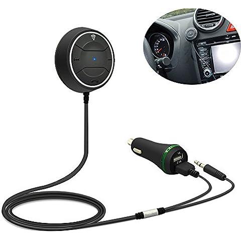 Bluetooth Kit de Coche, adaptador de coche Bluetooth 4.0llamadas manos libres yiger, receptor de música Bluetooth, NFC Emparejamiento rápido, 3.5mm AUX Jack Música, Negro