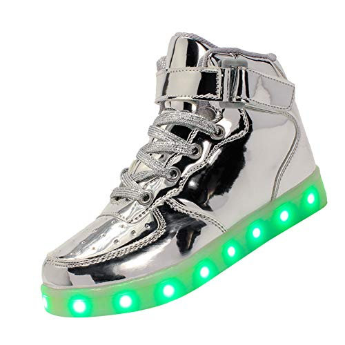 Tenthree Aufladen Leuchtend Leuchtschuhe Blinkschuhe - Sneakers Kleinkind LED USB Laden Trainer Leder Atmungsaktiv Lässig Laufen Jungen Mädchen Outdoor Schuhe