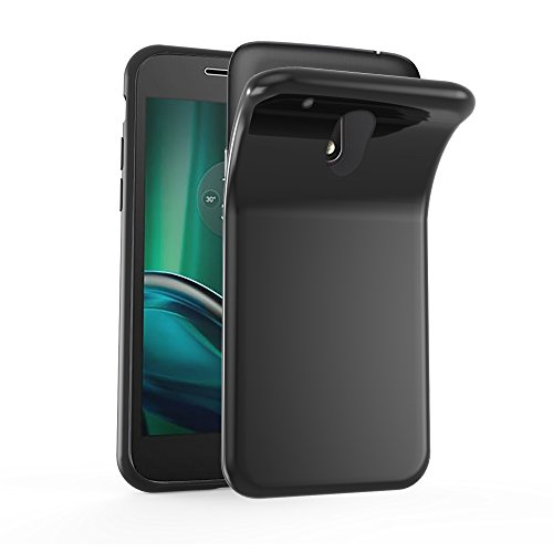 Cadorabo Hülle für Motorola Moto G4 Play - Hülle in SCHWARZ – Handyhülle aus TPU Silikon im Ultra Slim 'AIR' Design - Silikonhülle Schutzhülle Soft Back Cover Case Bumper