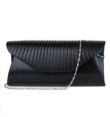 Schompi Elegante Damen Tasche Abendtasche Clutch Bag mit abnehmbarer Schulterkette Kettentasche, Farbe:Schwarz (Glitter-abend-clutch Purse)