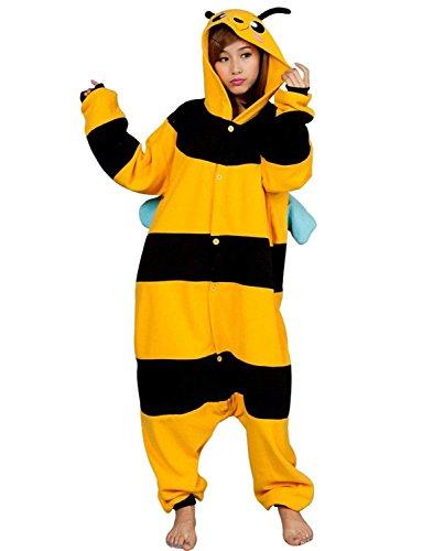 URVIP Neu Unisex Festliche Anzug Flanell Pyjamas Trickfilm Jumpsuit Tier Cartoon Fasching Halloween Kostüm Sleepsuit Party Cosplay Pyjama Schlafanzug Biene ()