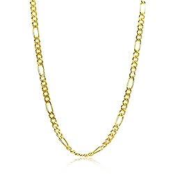 Orovi Damen Figarokette Halskette 8 Karat (333) GelbGold Figaro diamantiert Goldkette 1,9mm breit 45cm lange