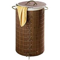 WENKO 17771100 Portabiancheria Bamboo marrone scuro  - con sacco