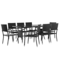 Tidyard 9 Piece Outdoor Dining Set Table and Stacking Chairs Glass Table-top Poly Rattan Garden Patio Furniture Set Black,8-Seater