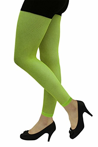 (Islander Fashions Damen Fischnetz Footless Strumpfhosen Damen Fancy Hen Night Party Wear Zubeh�r Neon Gr�n One Size)