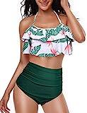 Yuson Girl Ruffle Bandeau Halter Bikini Donna Vita Alta, Costume da Bagno Bikini a Due Pezzi,Mare Bandage Push Up Top High Waisted Stampa Bottom