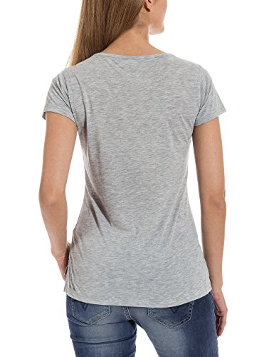 Timezone Damen T-Shirt 12-0393, mit Print Grau (grey melange 2012)