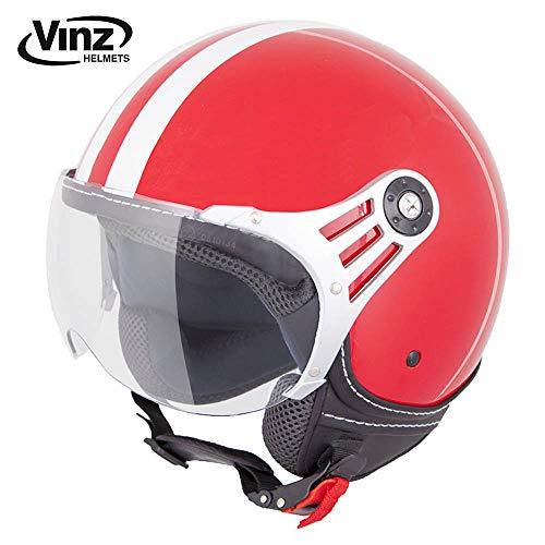 Vinz Rollerhelm Jethelm Fashionhelm | Roller Jet Helm mit Streifen | in Gr. XS-XL | Motorradhelm mit Visier | ECE zertifiziert (S, Rot)