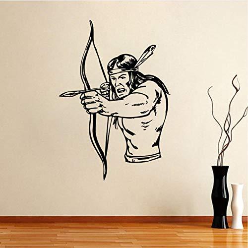 Dwqlx North American Indian Chief Injun Wandaufkleber Kunst Wohnkultur Vinyl Wandmalereien Wohnzimmer Dekoration Kinder Kinderzimmer Wandtattoos 87 * 58