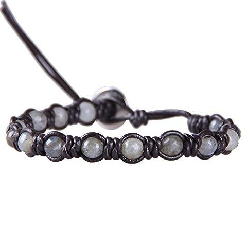KELITCH Foncé Marron Cuir Diamant Knots Bracelet avec Labradorite Semi-précieuses